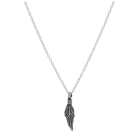 Sterling Silver Feather Necklace - 14 - 22 Inches