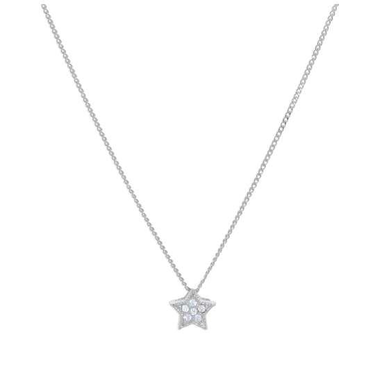 Sterling Silver CZ Floating Star Necklace 16-32 Inches