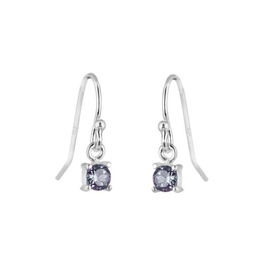 Sterling Silver Alexandrite CZ June Birthstone Dangle Earrings