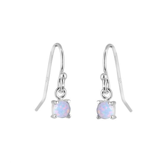 Sterling Silver Opal October Birthstone Claw Dangle Earrings