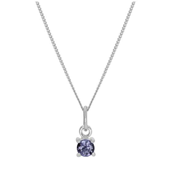 Sterling Silver Alexandrite CZ Birthstone Necklace - 14 - 32 Inches