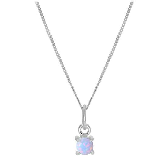 Sterling Silver Opal October Birthstone Necklace - 14 - 32 Inches