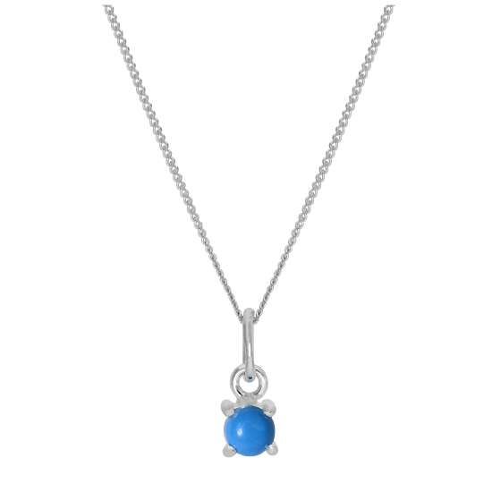 Sterling Silver Turquoise December Birthstone Necklace - 14 - 32 Inches