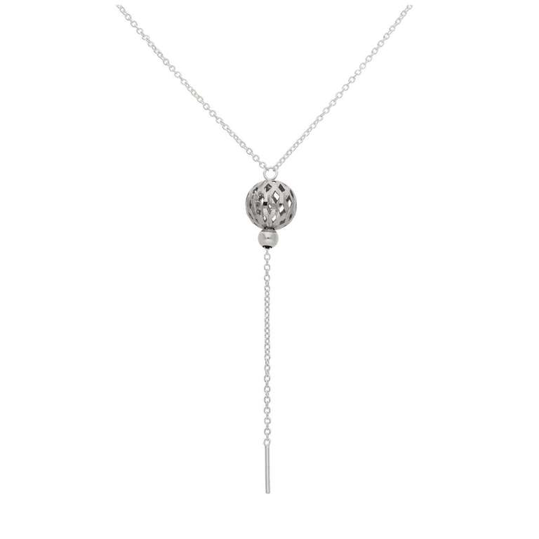 Sterling Silver 10mm Diamond Cut Ball 16 Inch Necklace
