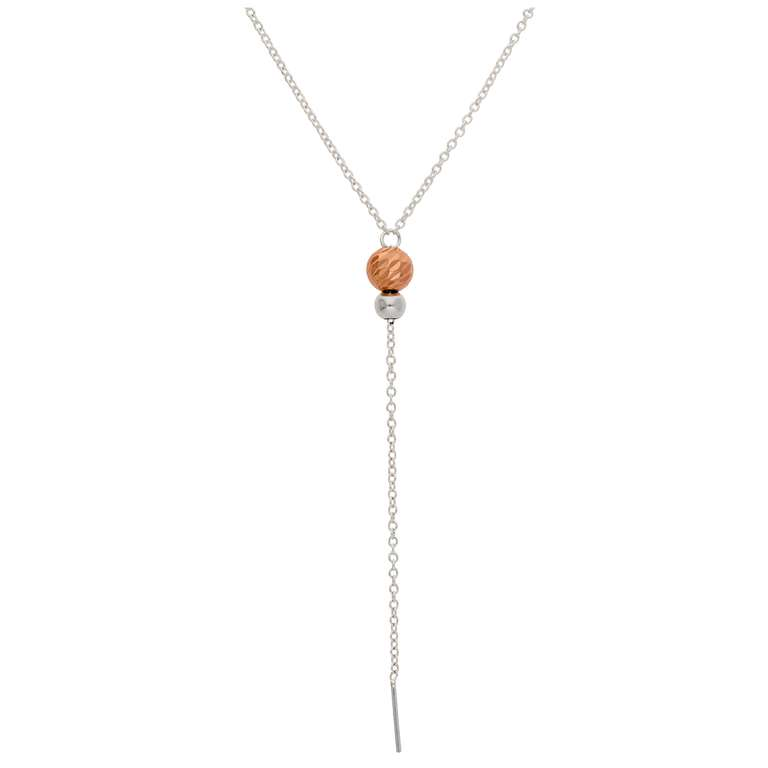Rose Gold Plated Silver Ball Necklace - 16 Inches