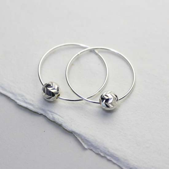 Sterling Silver 18mm Hoop Earrings with Chevron Cut Ball Beads