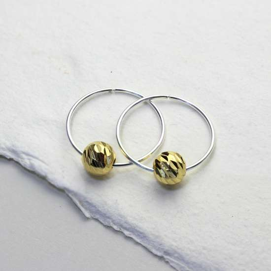 Sterling Silver 18mm Hoop Earrings with Gold Plated Diamond Cut Round Ball Beads