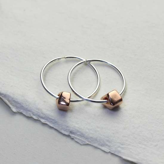 Sterling Silver 18mm Hoops with Rose Gold Plated Thick Nugget Beads