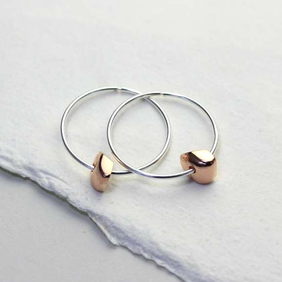 Sterling Silver 14mm Hoop Earrings with Rose Gold Plated Nugget Bead Charms