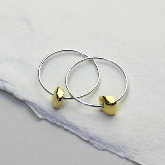 Sterling Silver 14mm Hoop Earrings with Gold Plated Nugget Bead Charms