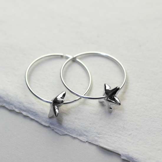Sterling Silver 18mm Hoop Earrings with Lily Flower Bead Charms