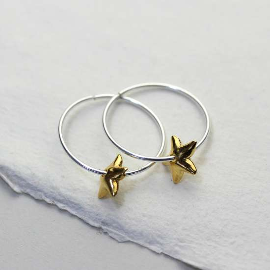 Sterling Silver 18mm Hoop Earrings with Gold Plated Lily Flower Bead Charms