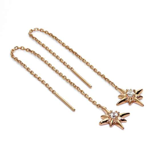 Rose Gold Plated Sterling Silver Starburst CZ Pull Through Earrings