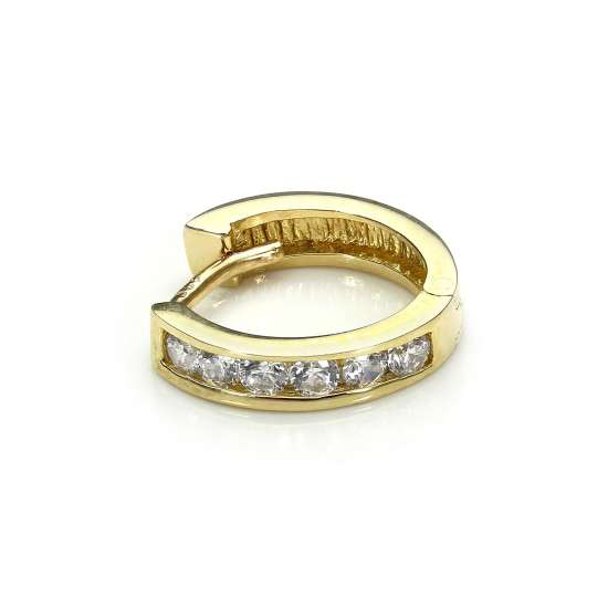 9ct Yellow Gold Clear CZ Huggie Hoop Helix Piercing