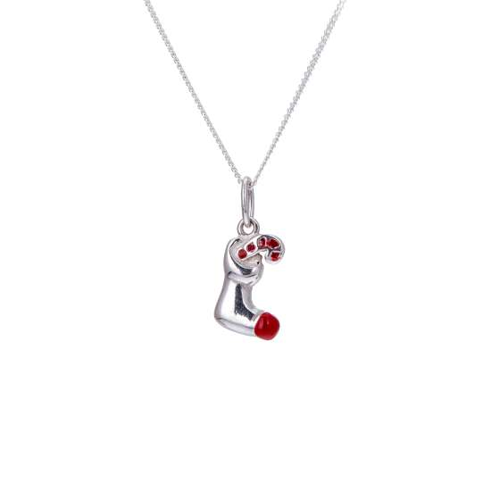 Sterling Silver Stocking & Candy Cane Necklace 16 - 32 Inch