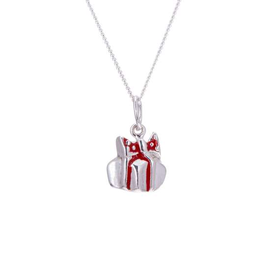 Sterling Silver Enamel Christmas Present Necklace - 16 - 32 Inches