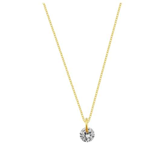 Gold Plated Sterling Silver & 4mm Clear CZ Necklace - 16 - 22 Inches