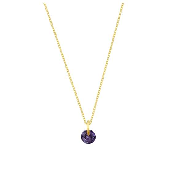 Gold Plated Sterling Silver & 4mm Amethyst CZ Necklace - 16 - 22 Inches