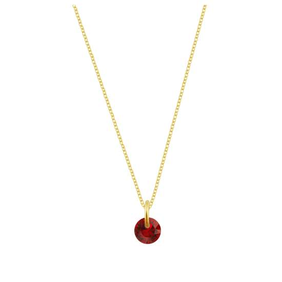 Gold Plated Sterling Silver & 4mm Ruby CZ Necklace - 16 - 22 Inches