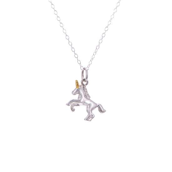 Sterling Silver Prancing Unicorn Necklace - 14 - 32 Inches