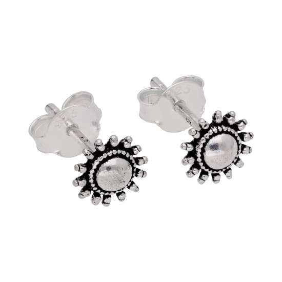 Sterling Silver Flaming Sun Stud Earrings