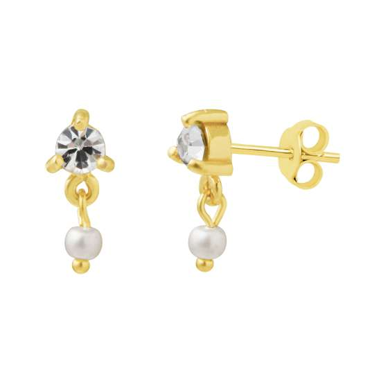 Gold Plated Sterling Silver Pearl Drop Stud Earrings