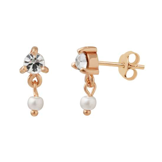 Rose Gold Plated Sterling Silver CZ Pearl Drop Stud Earrings
