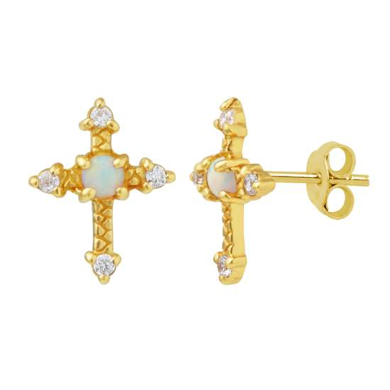 Gold Plated Sterling Silver Cross CZ Faux Opal Stud Earrings