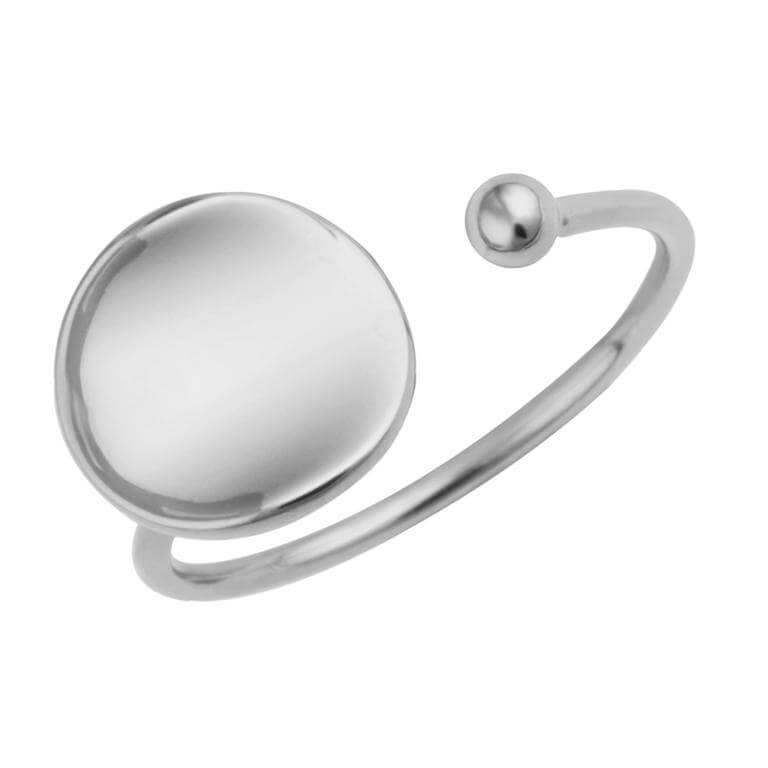 Sterling Silver Plain Round Disc Adjustable Ring
