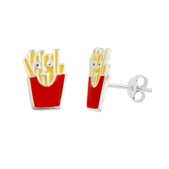 Sterling Silver Enamel French Fries Stud Earrings