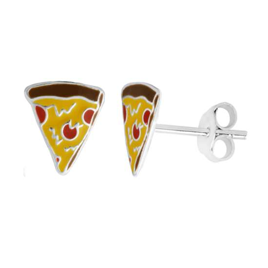 Sterling Silver Enamel Pizza Stud Earrings