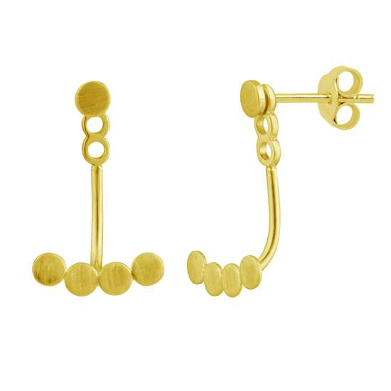 Gold Plated Sterling Silver Circles Ear Jacket Stud Earrings