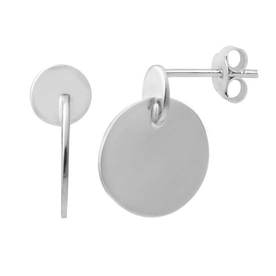 Sterling Silver Minimalist Double Circle Disc Stud Earrings