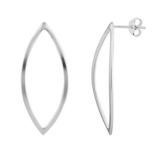 Large Sterling Silver Open Oval Stud Earrings