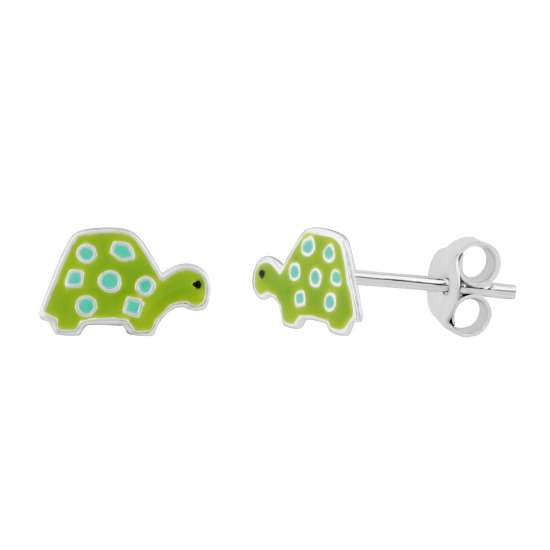 Sterling Silver Enamel Turtle Stud Earrings