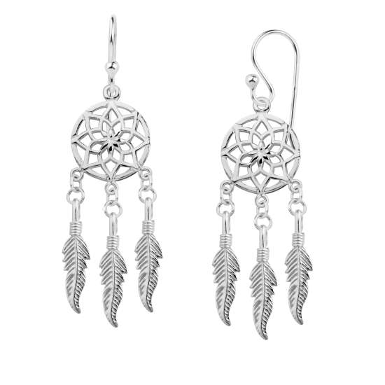 Sterling Silver Dreamcatcher Drop Dangle Earrings