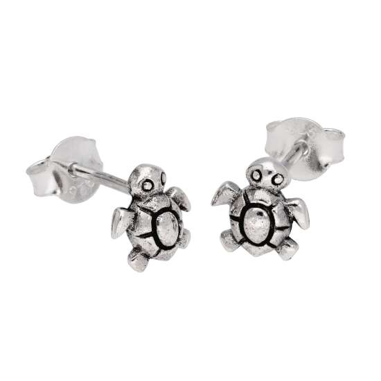 Tiny Sterling Silver Turtle Stud Earrings