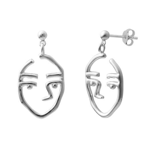 Sterling Silver Open Face Drop Stud Earrings