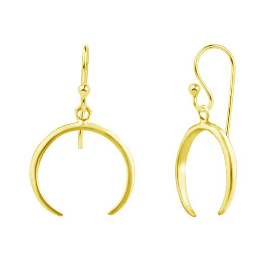 Gold Plated Sterling Silver Crescent Horn Drop Dangle Earrings