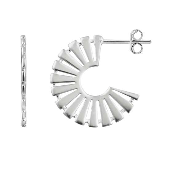 Sterling Silver Aztec Stud Hoop Earrings