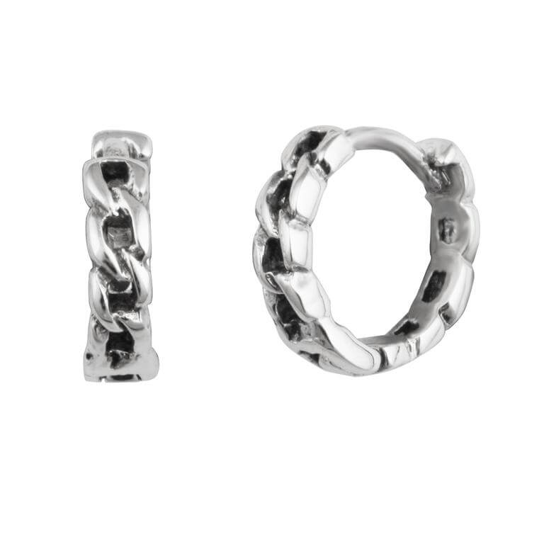 Sterling Silver Chain Hinged 13mm Huggie Hoop Earrings