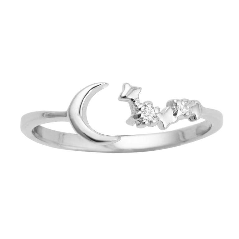 Sterling Silver Moon Star Constellation Open Adjustable Ring
