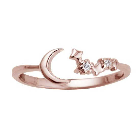 Rose Gold Plated Sterling Silver Moon Star Adjustable Ring
