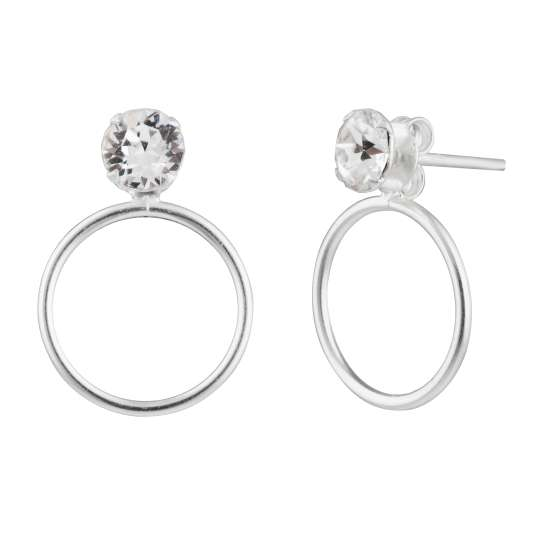 Sterling Silver Minimalist Karma Circle CZ Stud Earrings