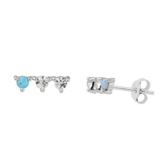 Sterling Silver Triple CZ Constellation Stud Earrings