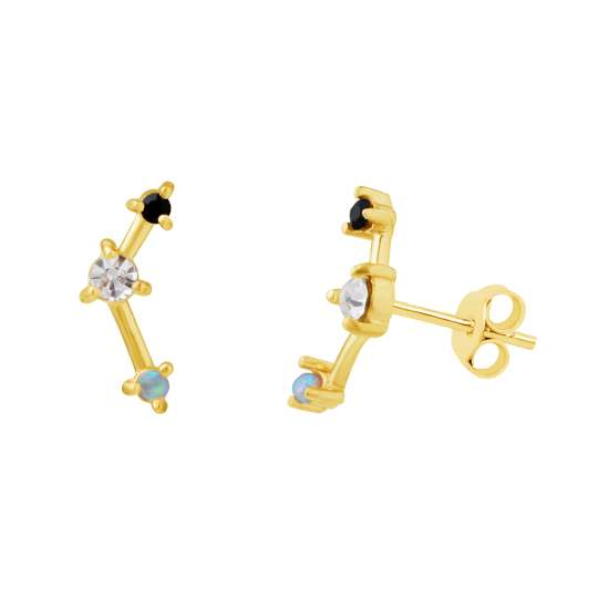 Gold Plated Sterling Silver CZ Constellation Stud Earrings