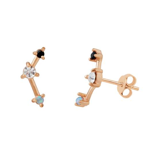 Rose Gold Plated Sterling Silver CZ Constellation Stud Earrings