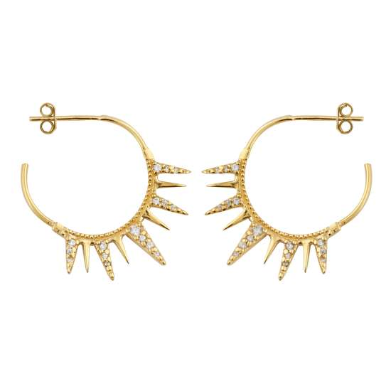 Gold Plated Sterling Silver CZ Spike Hoop Stud Earrings
