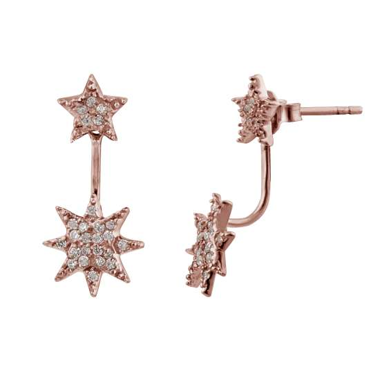 Rose Gold Plated Sterling Silver CZ Star Jacket Earrings