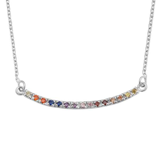 Sterling Silver CZ Rainbow Curve Bar 18 Inch Necklace